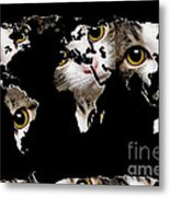 Cat Eyes World Map 2 Metal Print by Andee Design