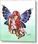 Cat Fairy In Blue  Metal Print