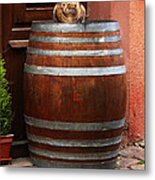 Cat Guarding A Wine Barrel In Alsace Metal Print