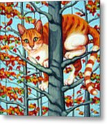 Orange Cat In Tree Autumn Fall Colors Metal Print