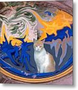Cat In Doorway Fantasy Metal Print