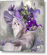 Cat In Easter Lilac Hat Metal Print