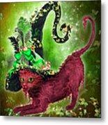 Cat In Fancy Witch Hat 2 Metal Print