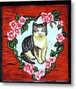 Cat In Heart Wreath 1 Metal Print