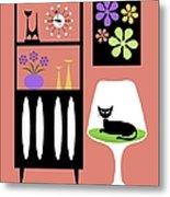 Cat In Pink Room Metal Print