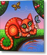 Cat In Reflection Metal Print