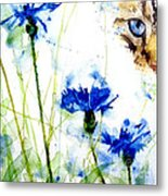 Cat In The Cornflowers Metal Print