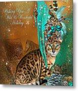 Cat In The Leopard Trim Santa Hat Metal Print