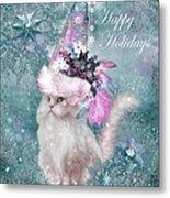 Cat In The Snowflake Santa Hat Metal Print