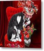 Cat In The Valentine Steam Punk Hat Metal Print