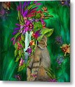 Cat In Tropical Dreams Hat Metal Print