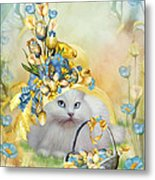 Cat In Yellow Easter Hat Metal Print