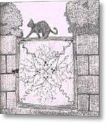 Cat On A Gate Metal Print