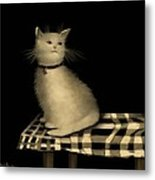 Cat On Checkered Tablecloth   No. 1 Metal Print