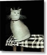Cat On Checkered Tablecloth   No. 2 Metal Print