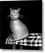 Cat On Checkered Tablecloth   No. 3 Metal Print