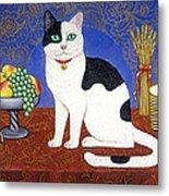 Cat On Thanksgiving Table Metal Print