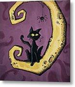 Cat On The Moon Metal Print