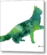 Cat Silhouette Print Watercolor Poster Metal Print