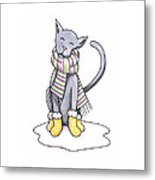 Cat Wearing Scarf Metal Print by Christy Beckwith
