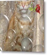 Cat With Bubbles Metal Print by Jo Collins