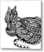 Cat With Design Metal Print