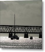 Catamaran Anchored At Old Bahia Honda Bridge Metal Print