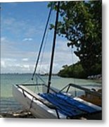 Catamaran On The Beach Metal Print