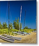 Catamaran Sailboats On The Beach At Muskegon No. 601 Metal Print