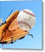 Catching A Baseball Metal Print
