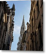 Catching A Glimpse Of Grand Place Brussels Belgium Metal Print