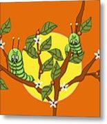 Caterpillars In The Orange Tree Metal Print
