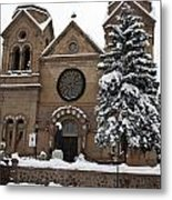 Cathedral Basilica Of St Francis In Snow Metal Print