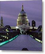 Cathedral Lit Up At Night, St. Pauls Metal Print