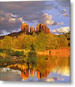 Cathedral Rock Reflected In Oak Creek Metal Print by Tim Fitzharris