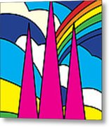 Cathedral Spires Stained Glass Lichfield Metal Print