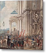 Catherine II On The Balcony Of The Winter Palace, Greeted By Guards And People On The Day Metal Print