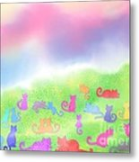 Cats In The Meadow Metal Print
