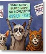 Cats On Strike Edit 2 Metal Print