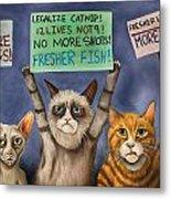 Cats On Strike Edit 3 Metal Print