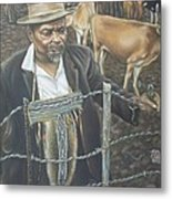 Cattle And African Rancher Metal Print