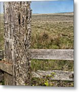 Cattle Fence On The Stornetta Ranch Metal Print