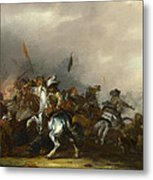 Cavalry Attacked By Infantry Metal Print