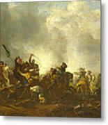 Cavalry Attacking Infantry Metal Print