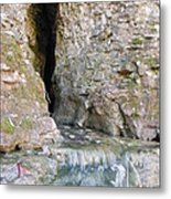 Cave Entrance And Mossy Waterfall At Indian Run 1 Metal Print