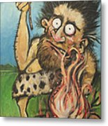Caveman And Fire Metal Print
