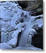 Cedar Falls In Winter At Hocking Hills Metal Print