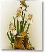Cedar Waxwings And Iris Metal Print