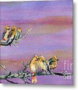 Bohemian Waxwings Birds Metal Print