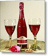Celebrate With Sparkling Rose Wine Metal Print